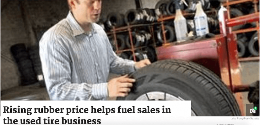 Rising Rubber Price Helps Fuel Sales in the Used Tire Business